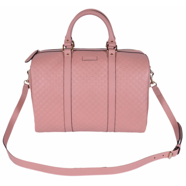 048d5e40b9c Gucci Pink Leather 449646 Micro GG Guccissima Boston Bag Satchel W Strap -  Soft Pink - 13