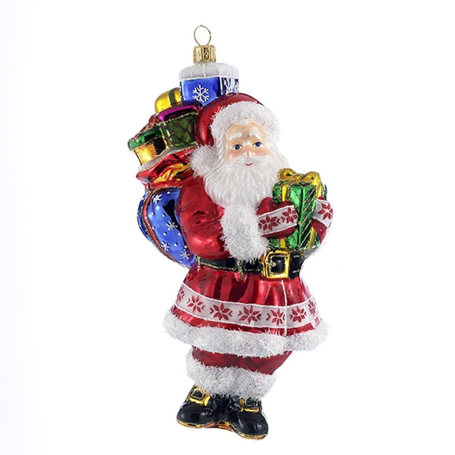787 Red And White Polonaise Glass Santa With Gifts Hanging