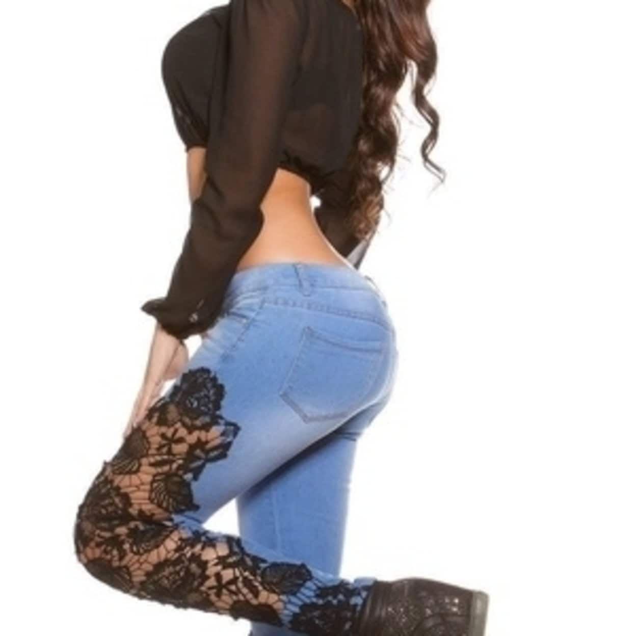 3f5f004de Shop Women Hollow Lace Crochet Spliced Denim Pants Elastic Ripped Holes  Jeans - Free Shipping On Orders Over  45 - Overstock - 27741036