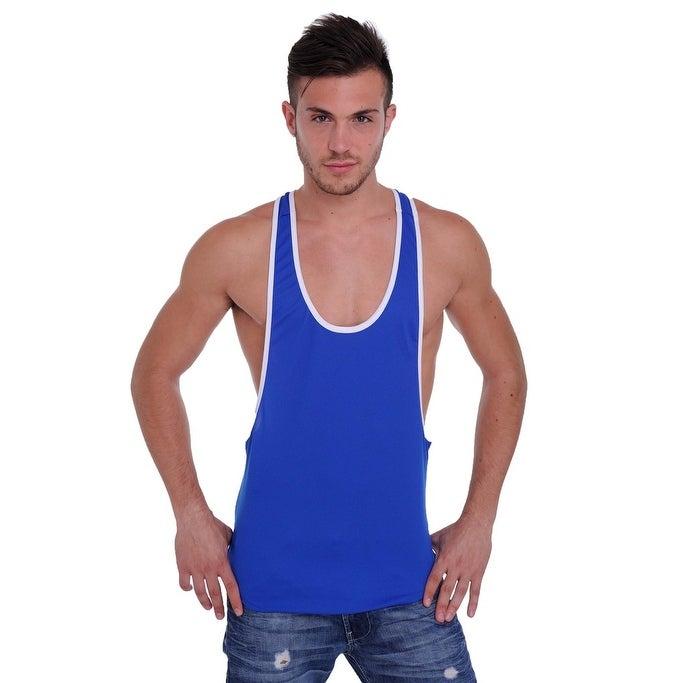 ff2981d23c74e Men s Dri Fit Tank Top Open Side Racer Back Gym Workout Rib Ringer Muscle  Shirt