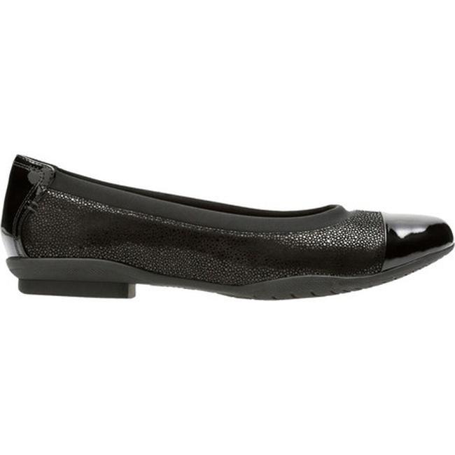 a93e0fecd9f4 Shop Clarks Women s Neenah Garden Cap Toe Ballet Flat Black Nubuck Patent  Leather - Free Shipping Today - Overstock - 17428072