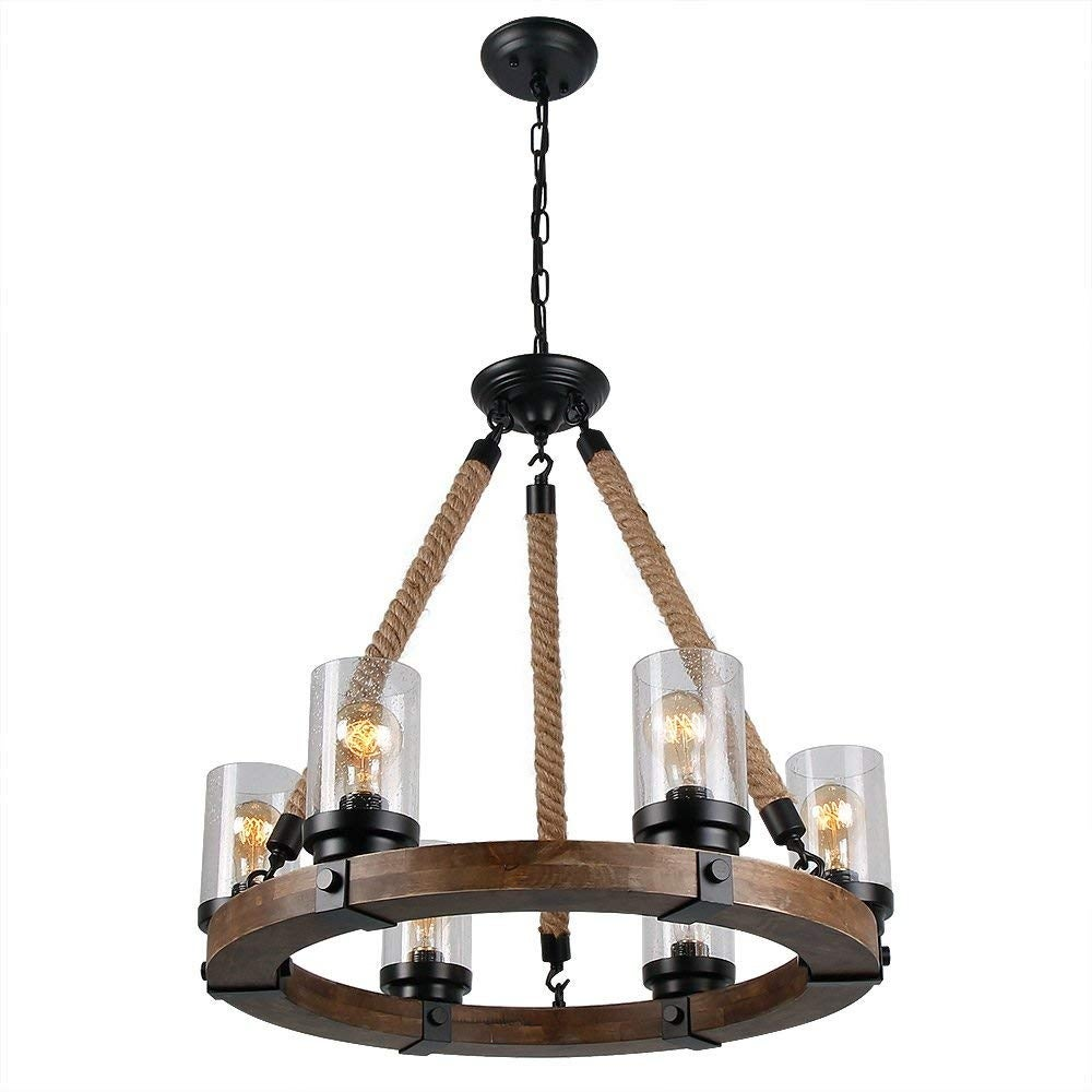 6 light vintage industrial rustic chandelier circular glass wood black antique pendant chandelier rust