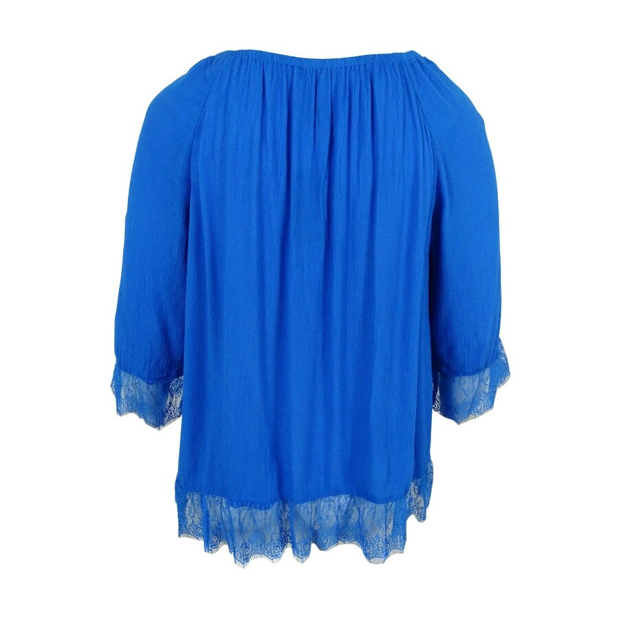 ad93f3c97db Shop INC International Concepts Women s Plus Size Lace-Trim Peasant Top -  Free Shipping On Orders Over  45 - Overstock - 17019314