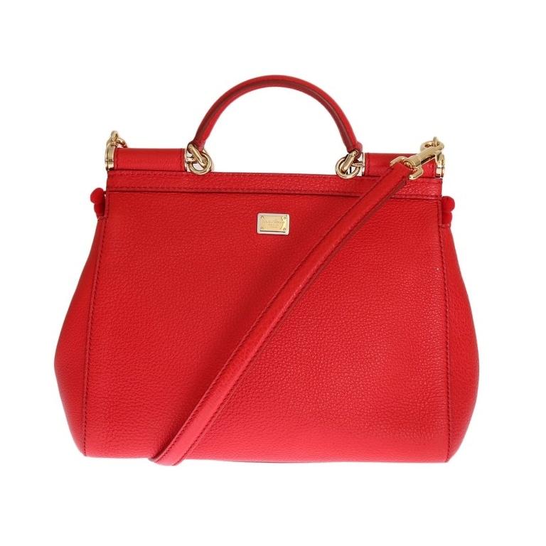 Dolce   Gabbana Dolce   Gabbana Red Leather Crystal SICILY Bag - One size e4e487ab52