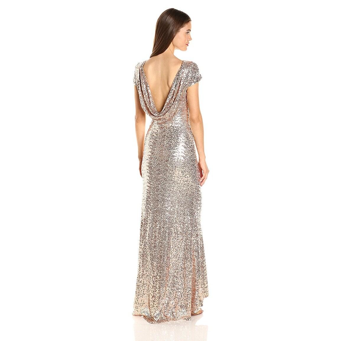 Shop Badgley Mischka Blush Cap Sleeve Sequin Cowl Back Evening Gown