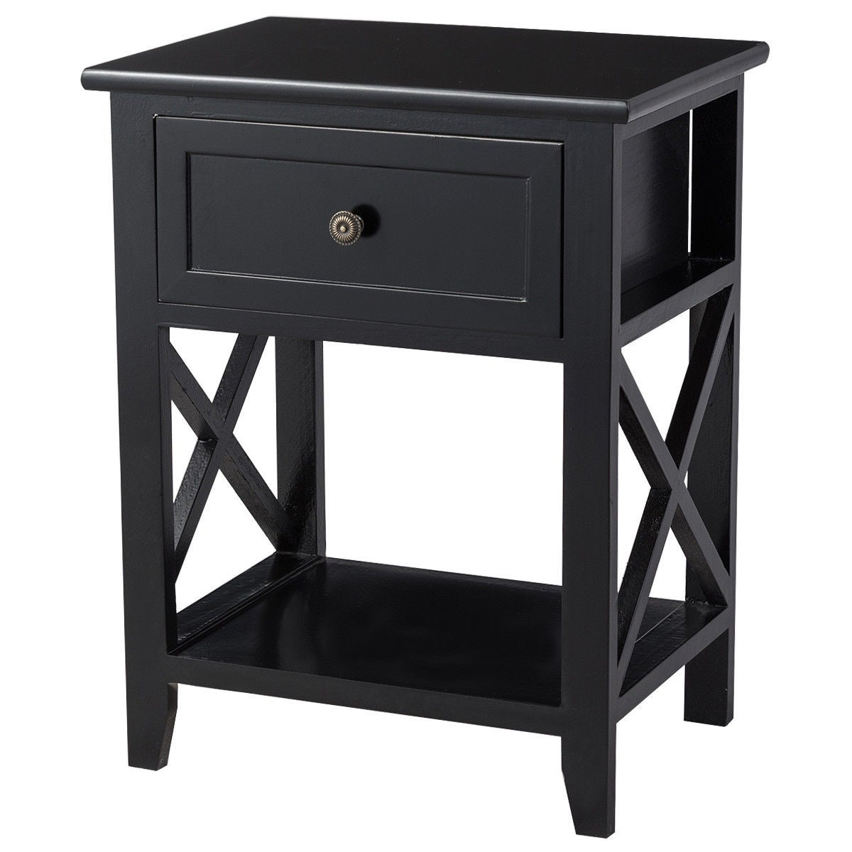 Costway End Bedside Table Nightstand Drawer Storage Room Decor W Bottom Shelf Black Free Shipping Today 22437225