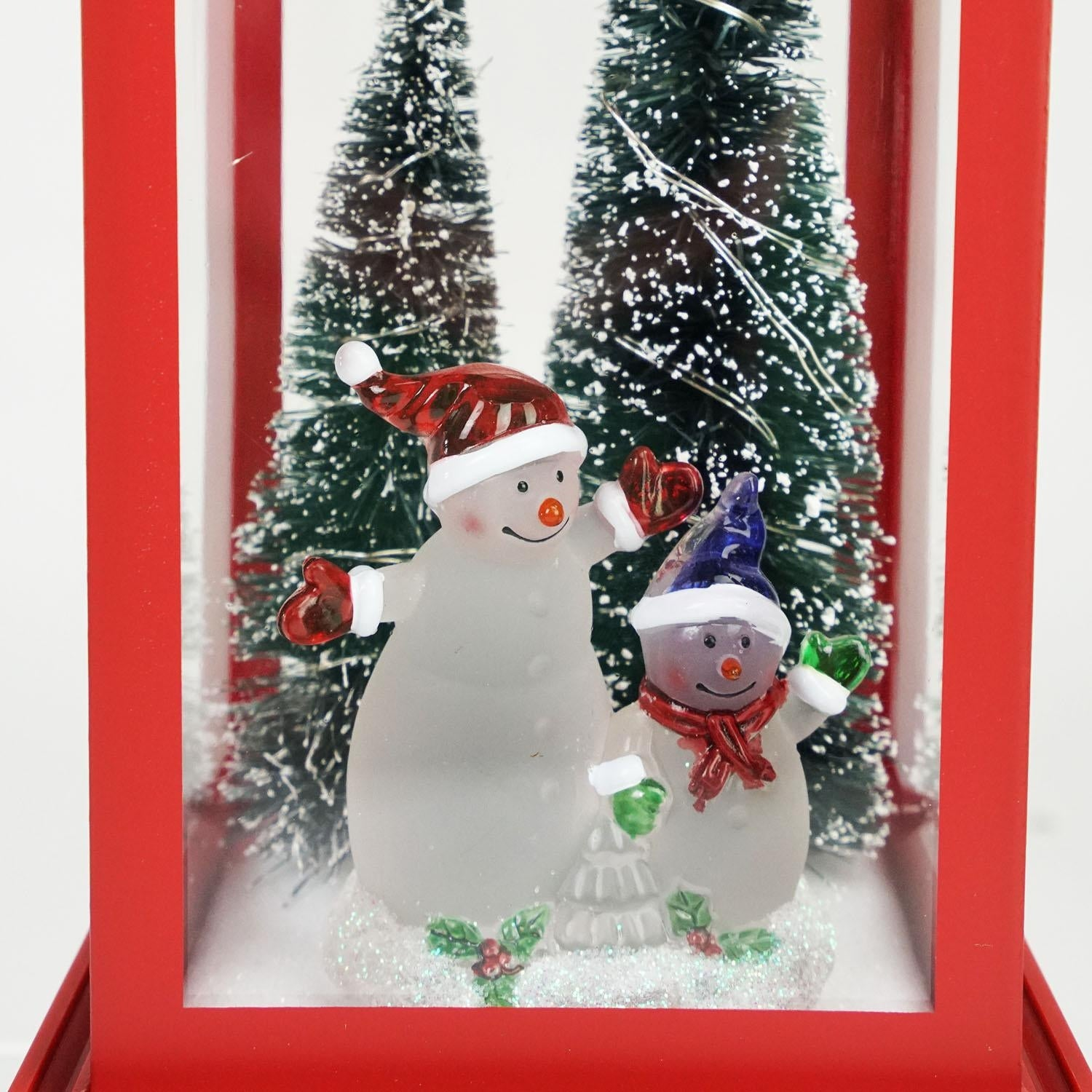105 Snowmen With Trees Red Led Lighted Christmas Lantern Tabletop