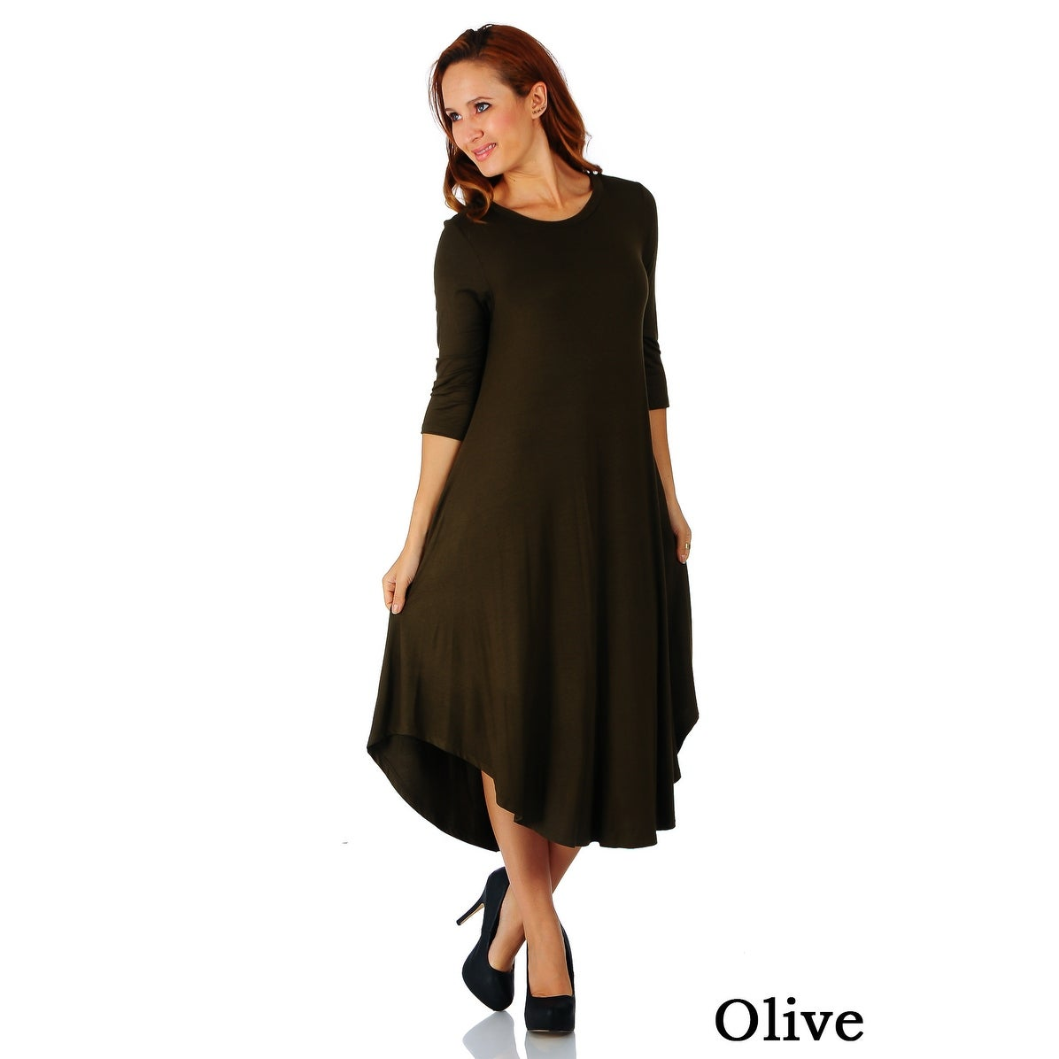 d7e9b5d151b Shop Simply Ravishing 3 4 Sleeve Rounded Hem Mid-Length Maxi Dress (Size   S-5X) - Free Shipping On Orders Over  45 - Overstock - 18155132