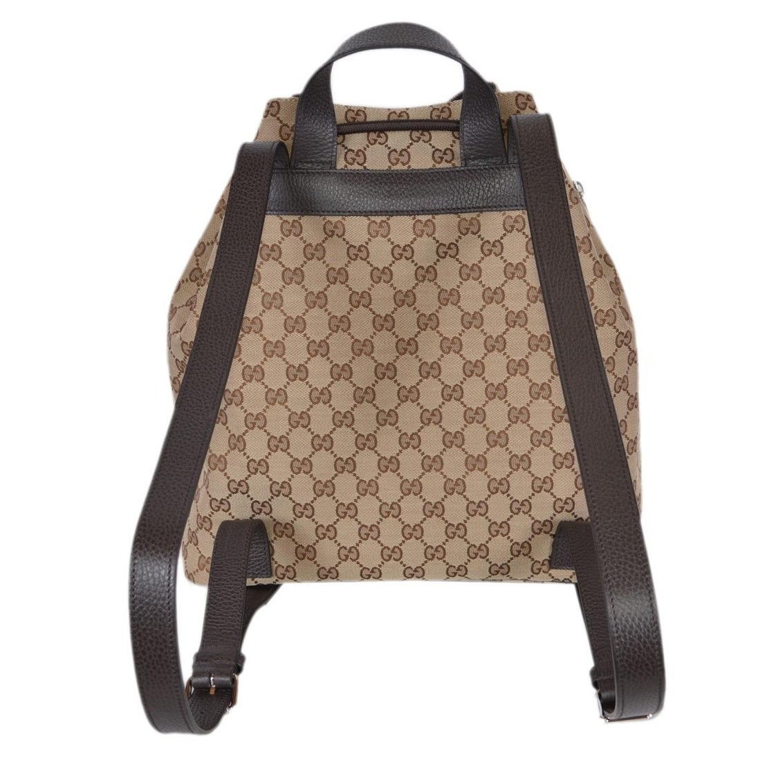 6e7662aa64cf Shop Gucci 449175 Beige Canvas GG Guccissima Drawstring Backpack Rucksack  Bag - Beige/Brown - Free Shipping Today - Overstock - 22817017