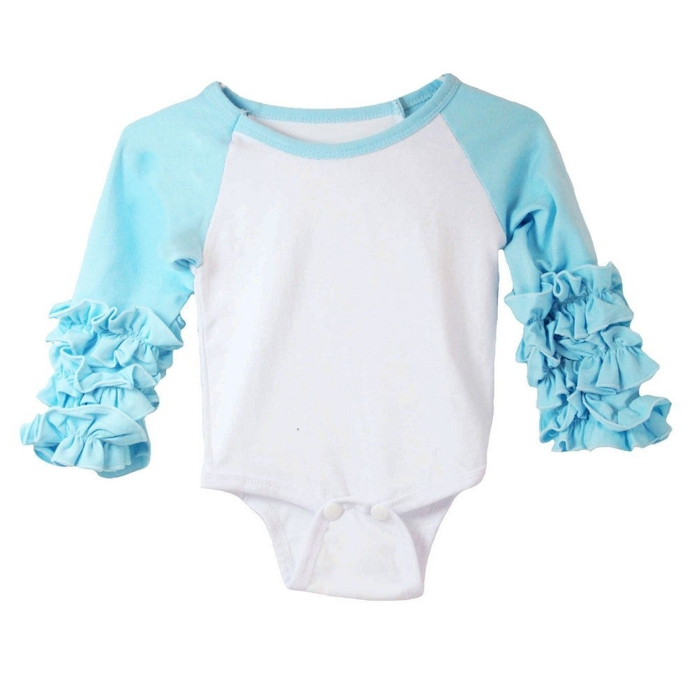 3e5e19995 Baby Girls Blue White Ruffle Cuff Crew Neck Long Sleeve Bodysuit 0-3M