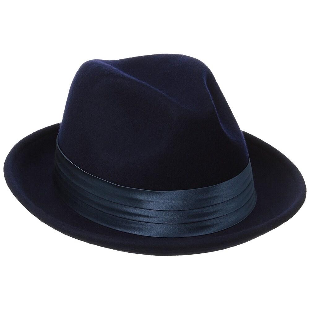 24ad4e560bba8 Shop Stacy Adams Men s Crushable Wool Felt Snap Brim Fedora Hat - X ...