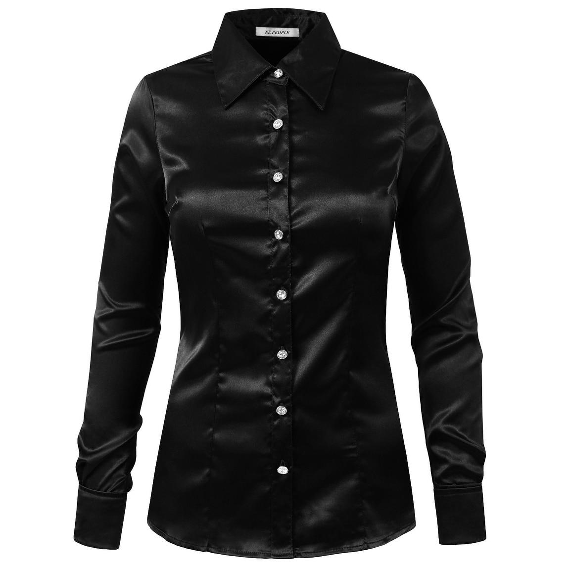 5875a2416 NE PEOPLE Womens Long Cuff Sleeve Button Down Satin Shirt [NEWT74]