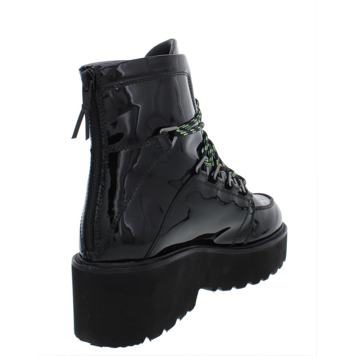 b52a0589636 Shop Stuart Weitzman Womens Belowdeck Platform Boots Patent Leather Hiking  - 8.5 Medium (B