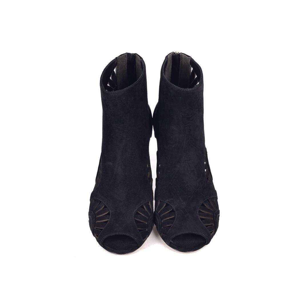 971a051ba83d Shop Tory Burch Women s Black Suede Cutout Leyla Booties - Free Shipping  Today - Overstock - 23178214