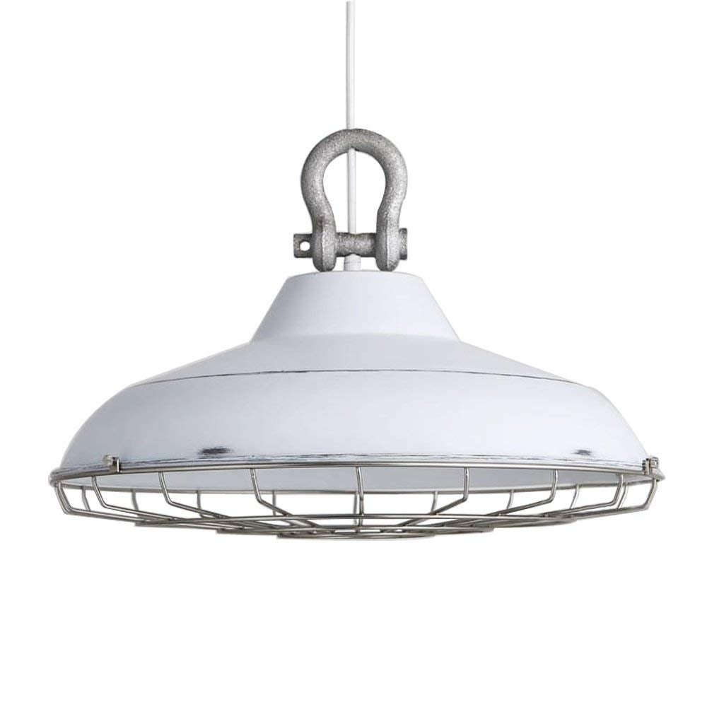 White cage barn pendant light fixture