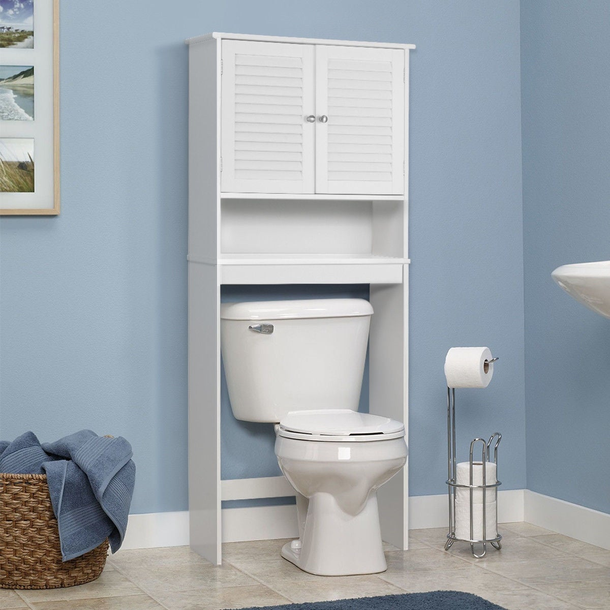 Shop Gymax Bathroom Space Saver Over The Toilet Shelved Storage ...