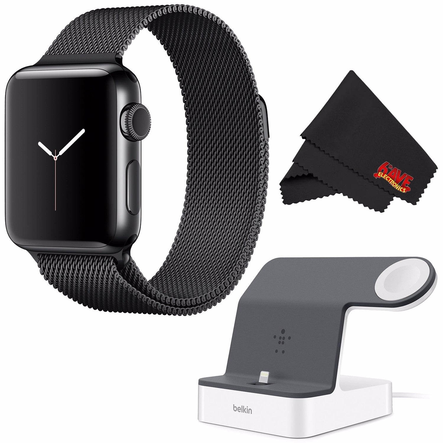 Shop Apple Watch Series 2 38mm Silver Aluminum Case White Sport Black Band Powerhouse Charge Dock For Iphone Bundle Free Shipping Today
