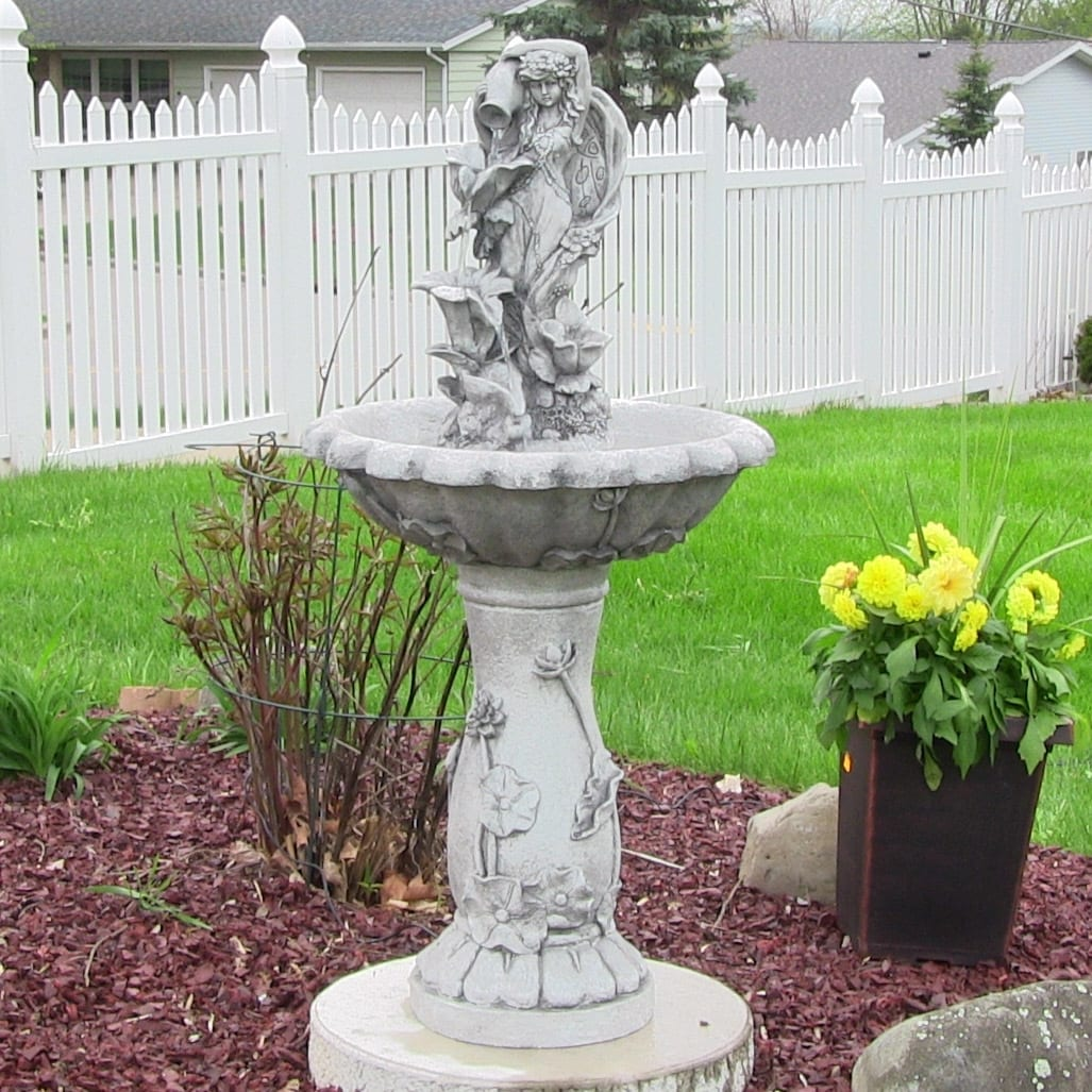 Sunnydaze Fairy Flower Solar On Demand Outdoor Water Fountain 42.5 Inches  Tall   Free Shipping Today   Overstock.com   18534038