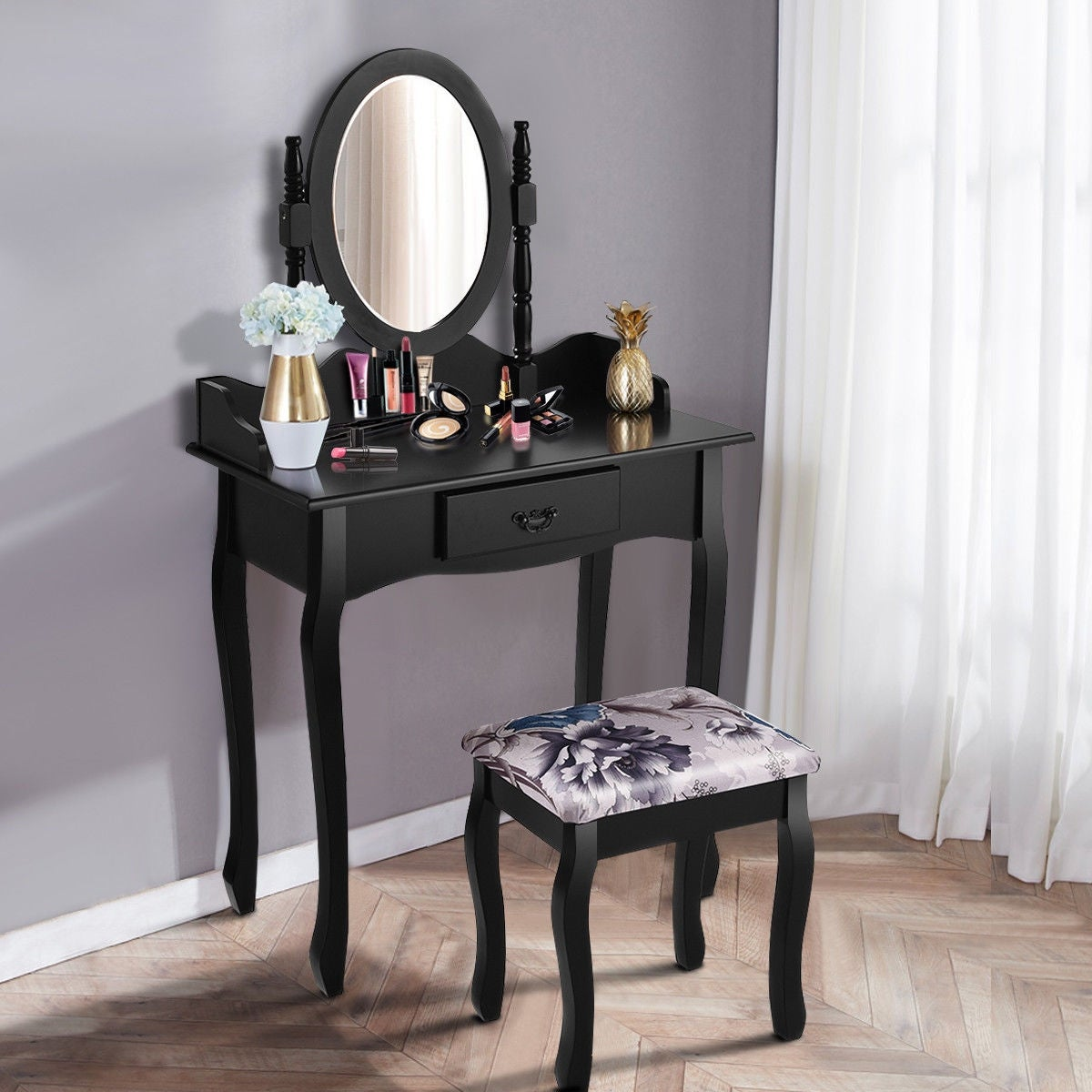 Costway Vanity Wood Makeup Dressing Table Stool Set Jewelry Desk Bathroom W Drawer Mirror Black Free Shipping Today 18298125