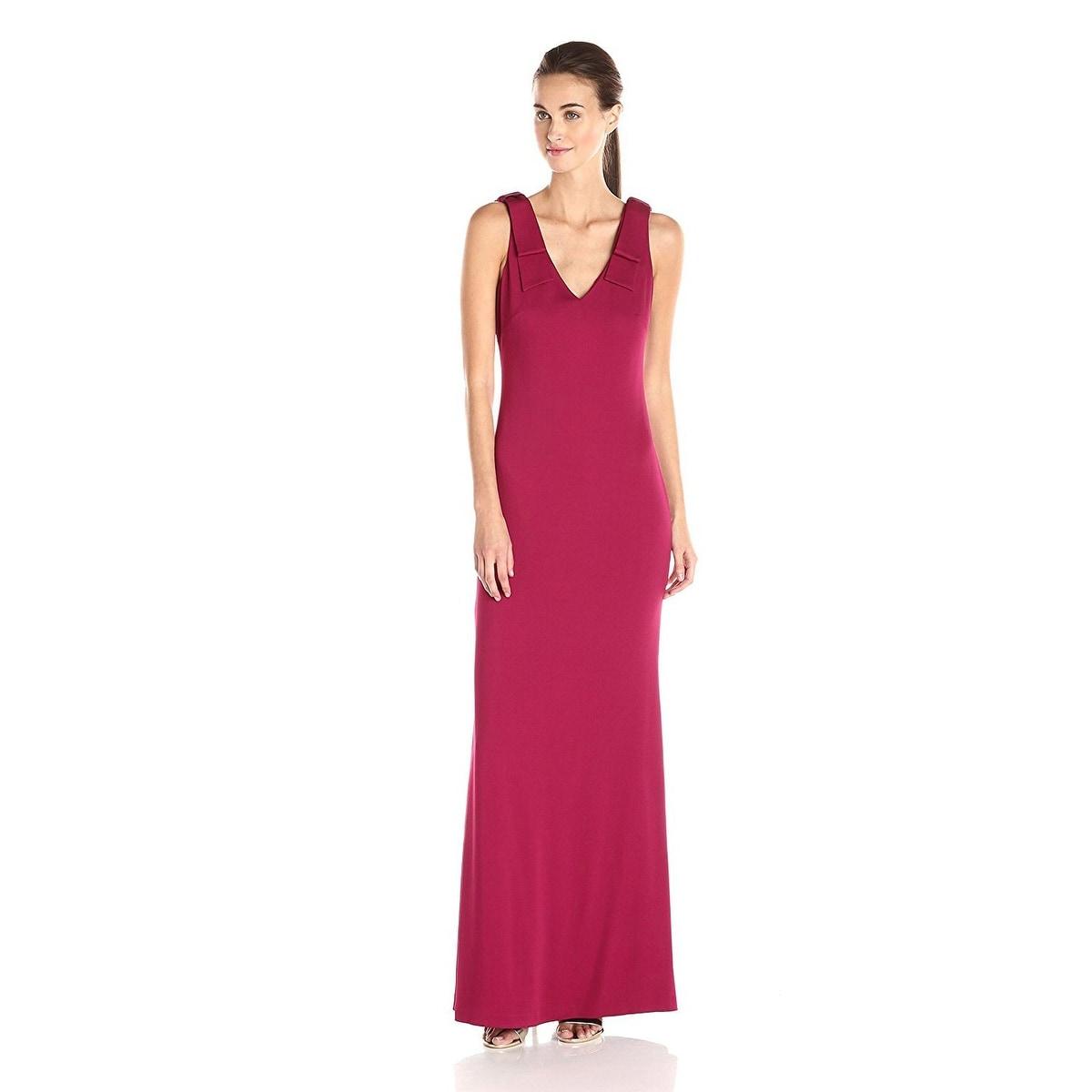 Shop Nicole Miller Stretch Crepe Bow Shoulder V-Neck Evening Gown ...