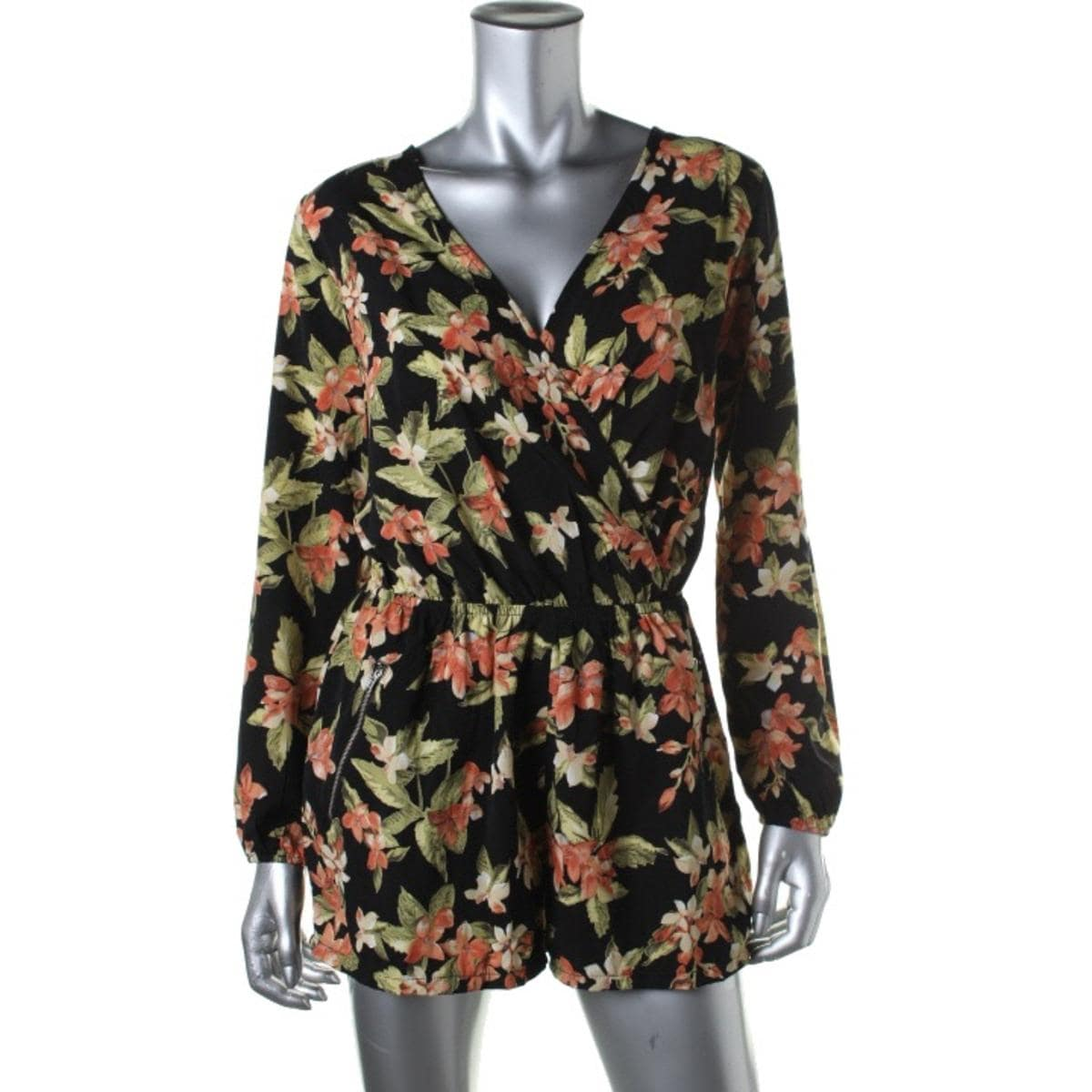 a2f8872850cf Shop One Clothing Womens Juniors Romper Floral Print Surplice - Free  Shipping On Orders Over  45 - Overstock - 14325336