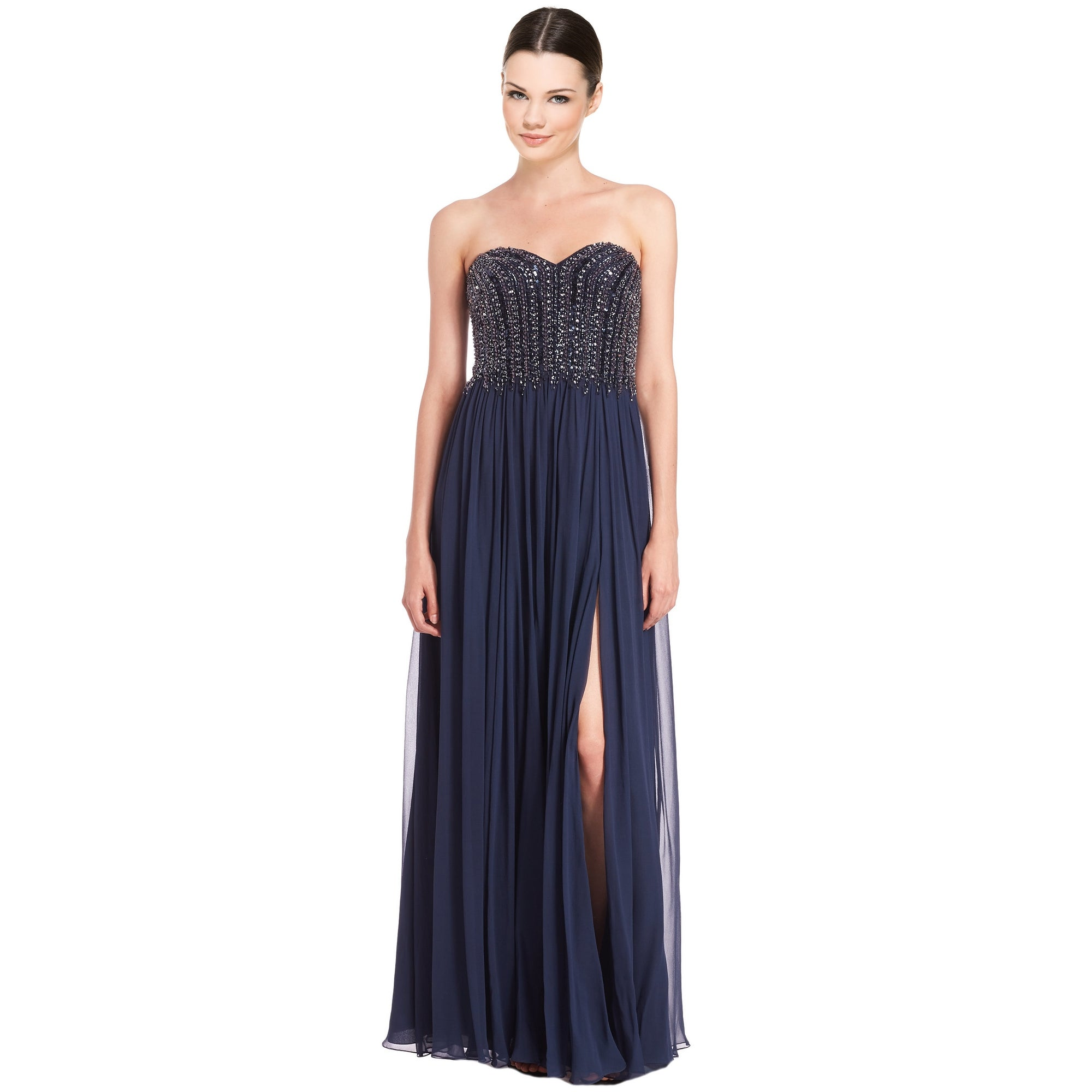 Shop David Meister Strapless Beaded Bodice Chiffon Evening Gown ...