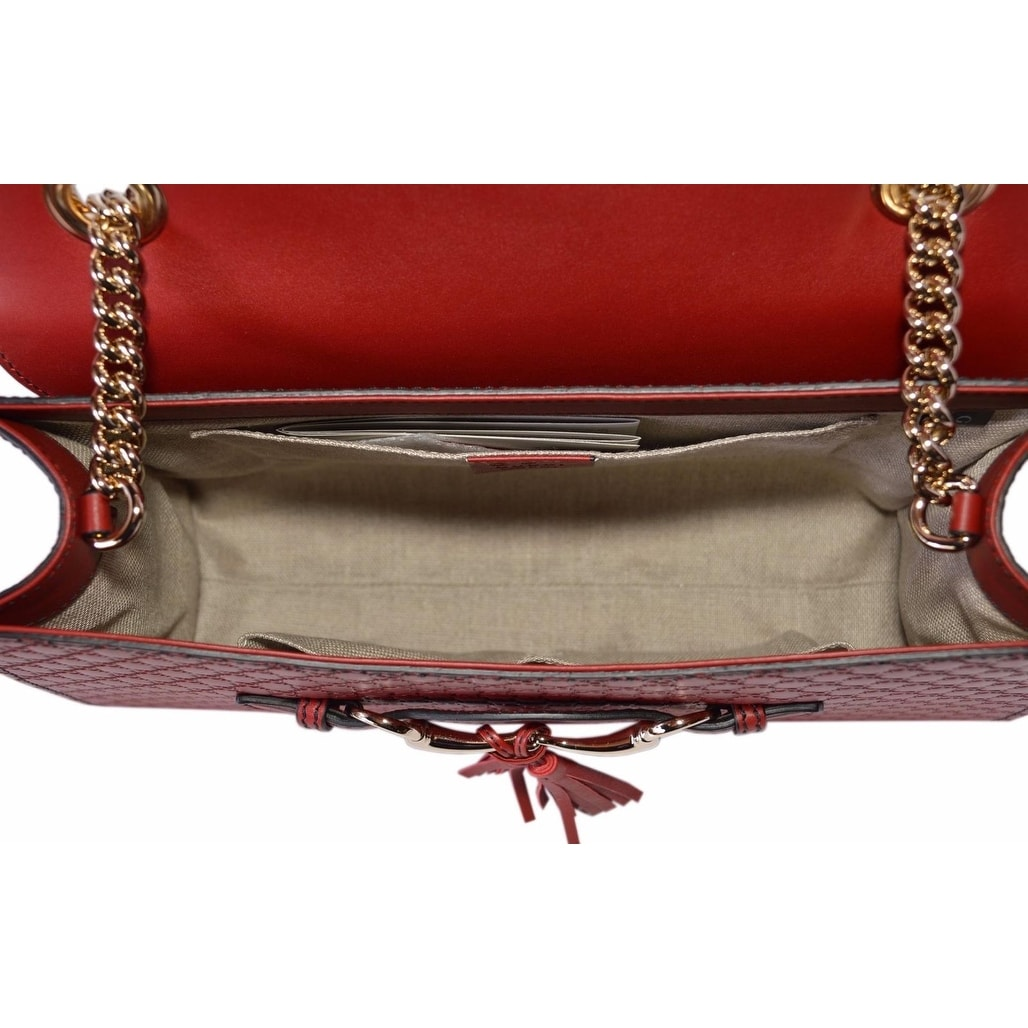 5c85ccaf96a1 Shop Gucci Women's 449635 Red Micro GG Guccissima Leather Emily Purse  Handbag - 11.8
