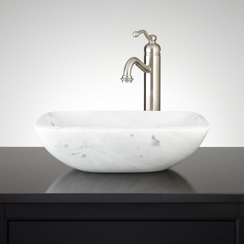 Signature Hardware 334820 17 Curved Rectangular Carrara Marble Vessel Bathroom Sink N A Free Shipping Today