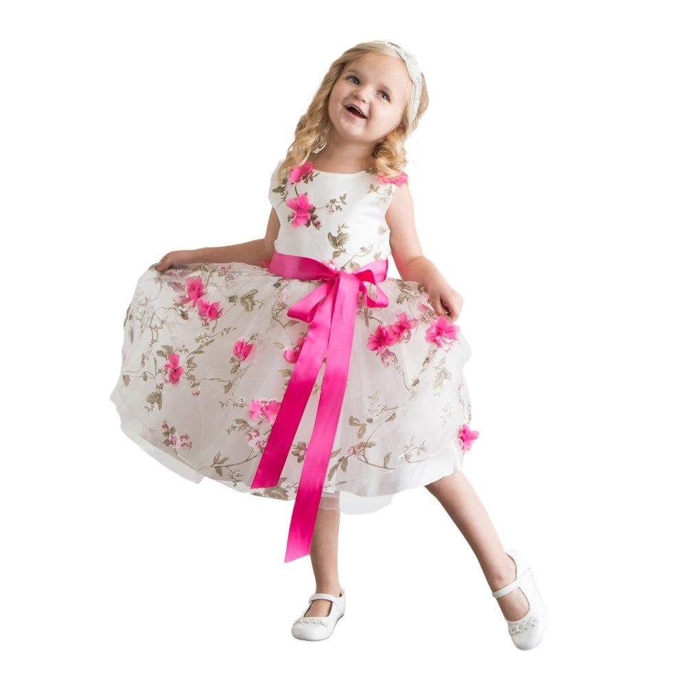 Think Gold Bows Baby Girls Hot Pink Spring Garden Flower Girl Dress
