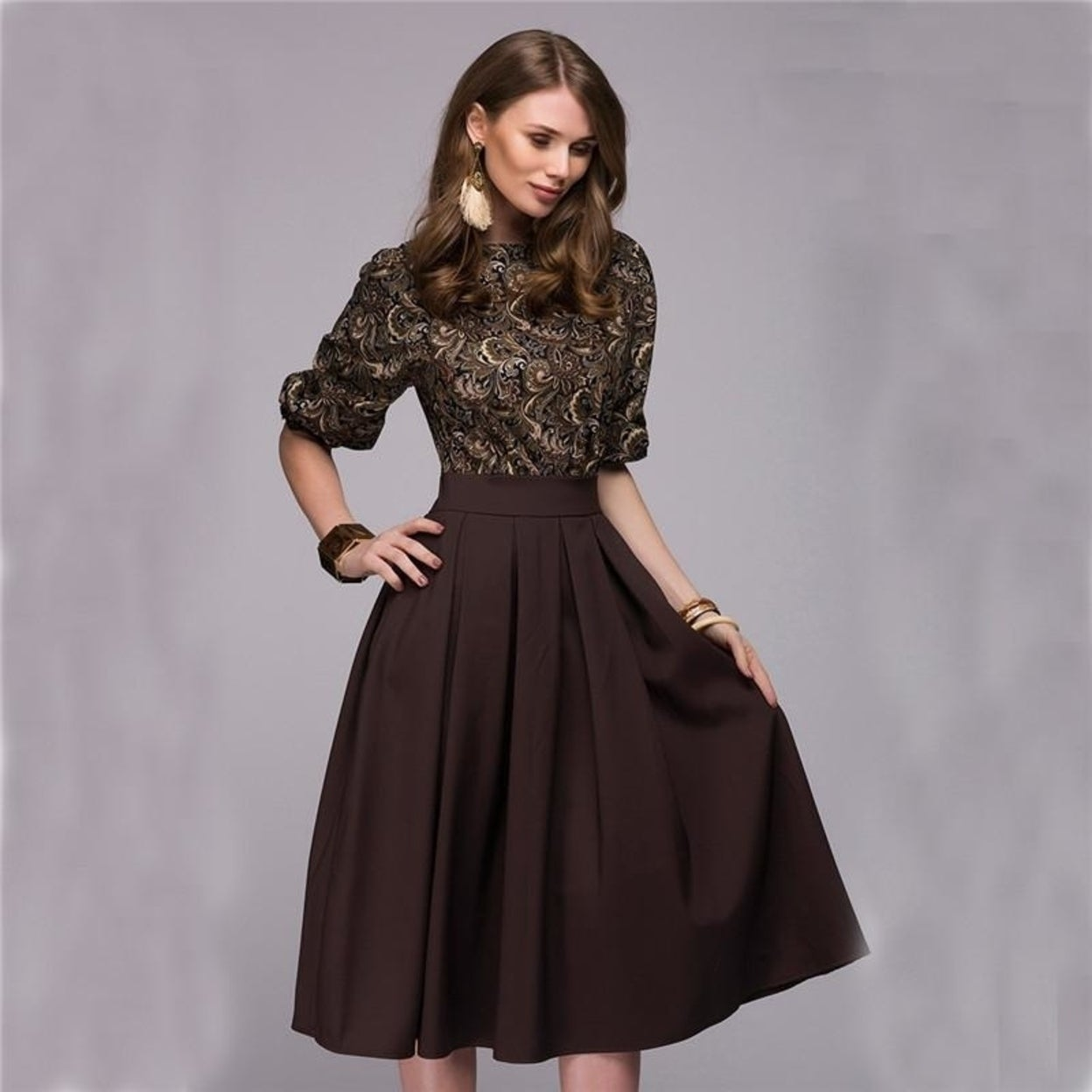 d2515345359 shop fall fashion women floral printed party dresses autumn christmas  casual elegant prom midi dress plus