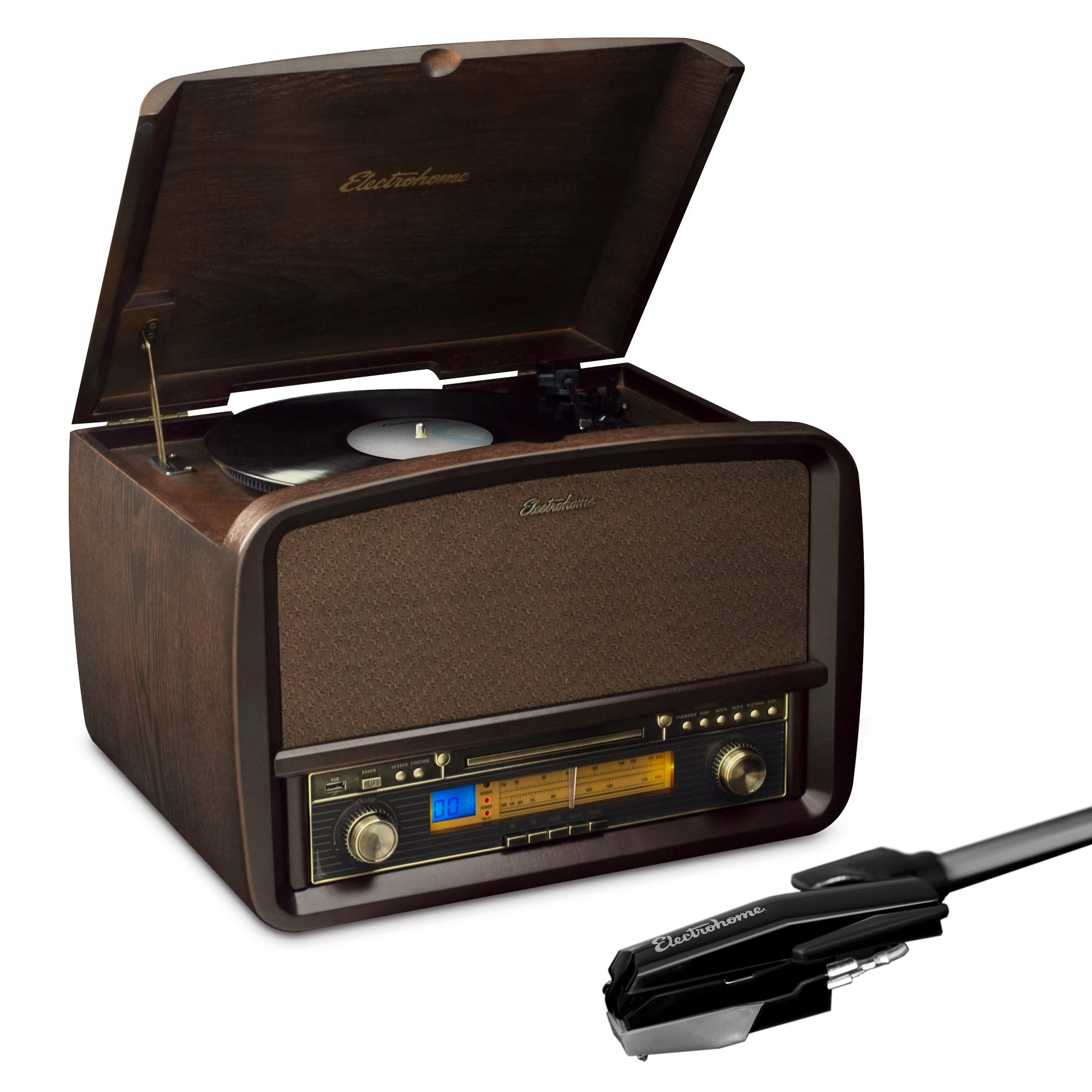 Electrohome Signature Vinyl Record Player Classic Turntable Hi Fi Stereo System