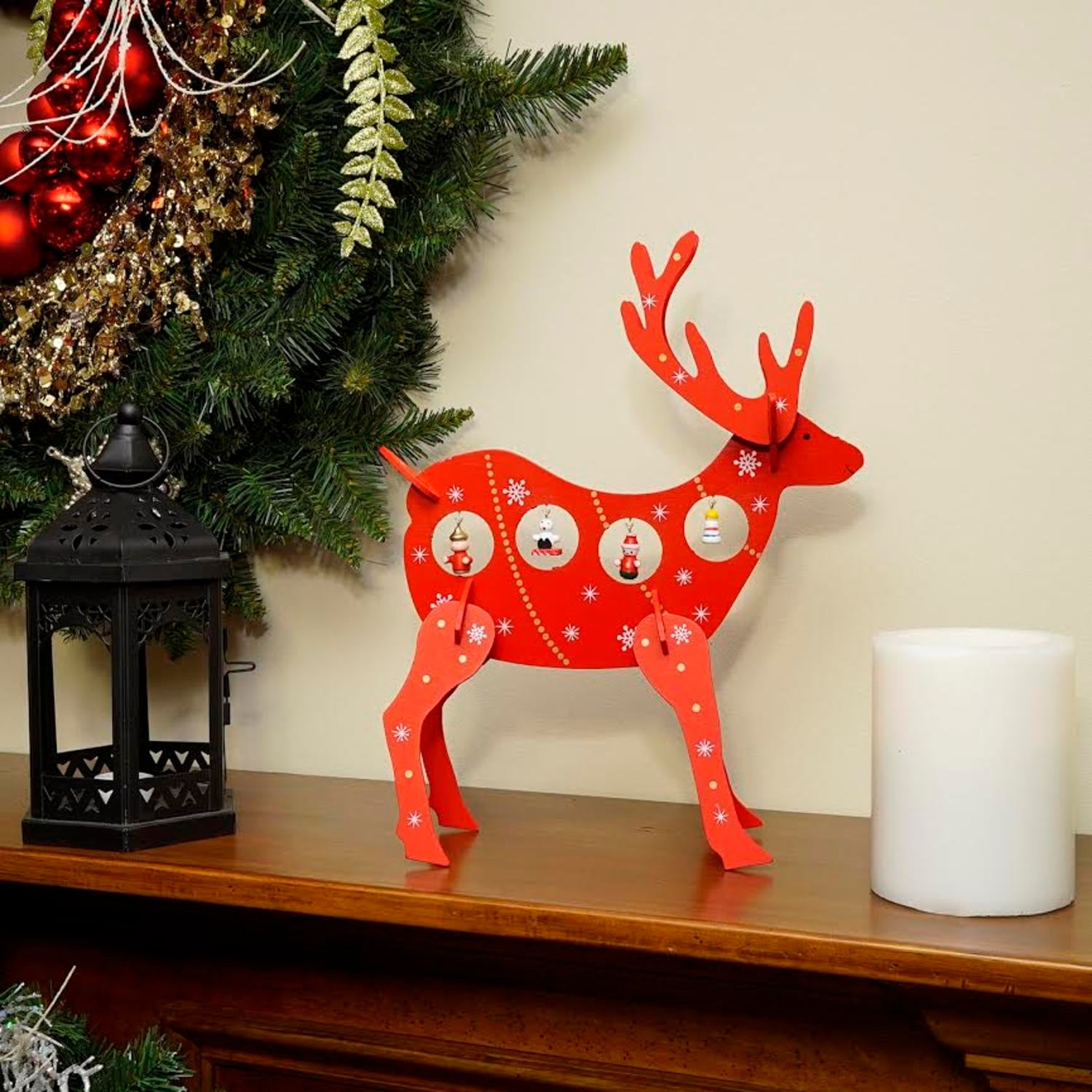 shop 13 decorative red wooden reindeer cut out christmas table top decoration free shipping on orders over 45 overstockcom 16561660