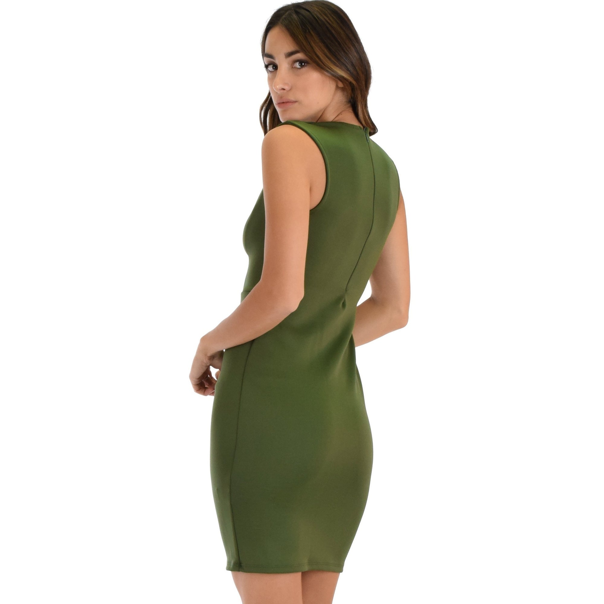 b1217b162e5 Shop Cocktail Hour V-Neck Black Bodycon Dress -Olive-Small - Free Shipping  On Orders Over  45 - Overstock - 23108656