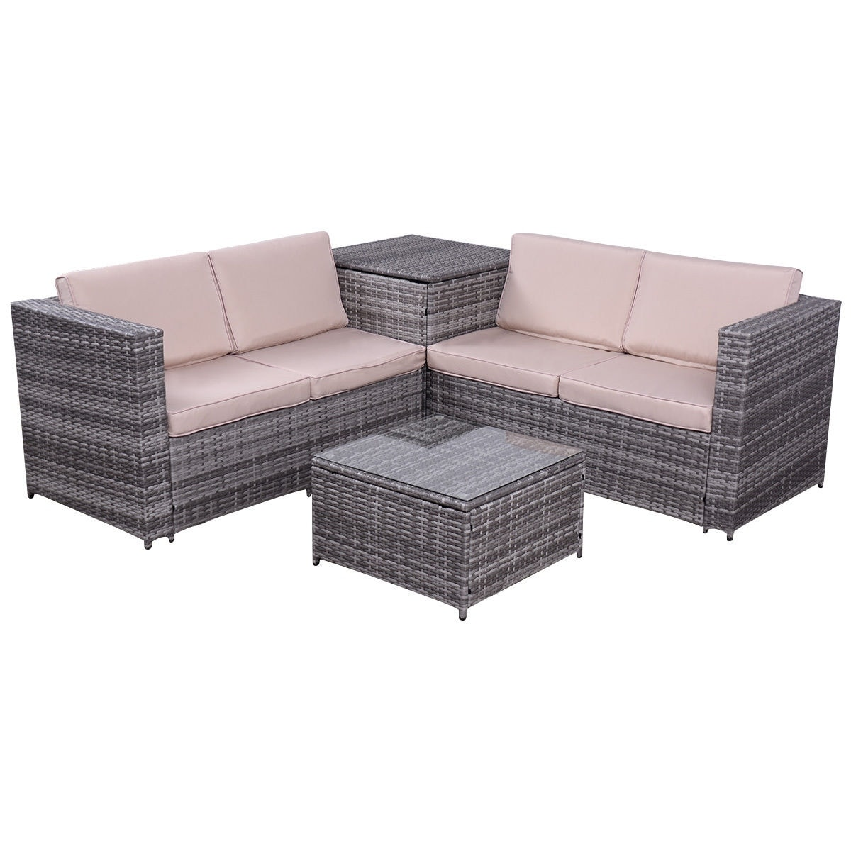 Costway 4pcs Patio Rattan Wicker Furniture Set Sofa Loveseat Cushioned W Storage Box As Pic Free Shipping Today 16339809