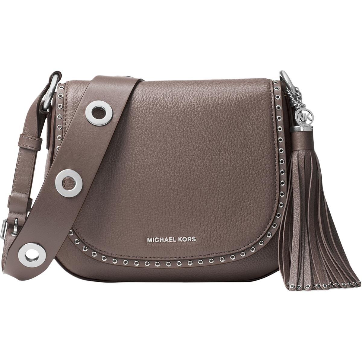 8d407305937e MICHAEL Michael Kors Womens Brooklyn Saddle Handbag Leather Grommet - small