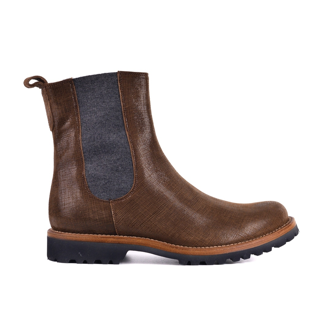 Shop Brunello Cucinelli Womens Brown Suede High Top Chelsea Boots ... 4c92ff35ef
