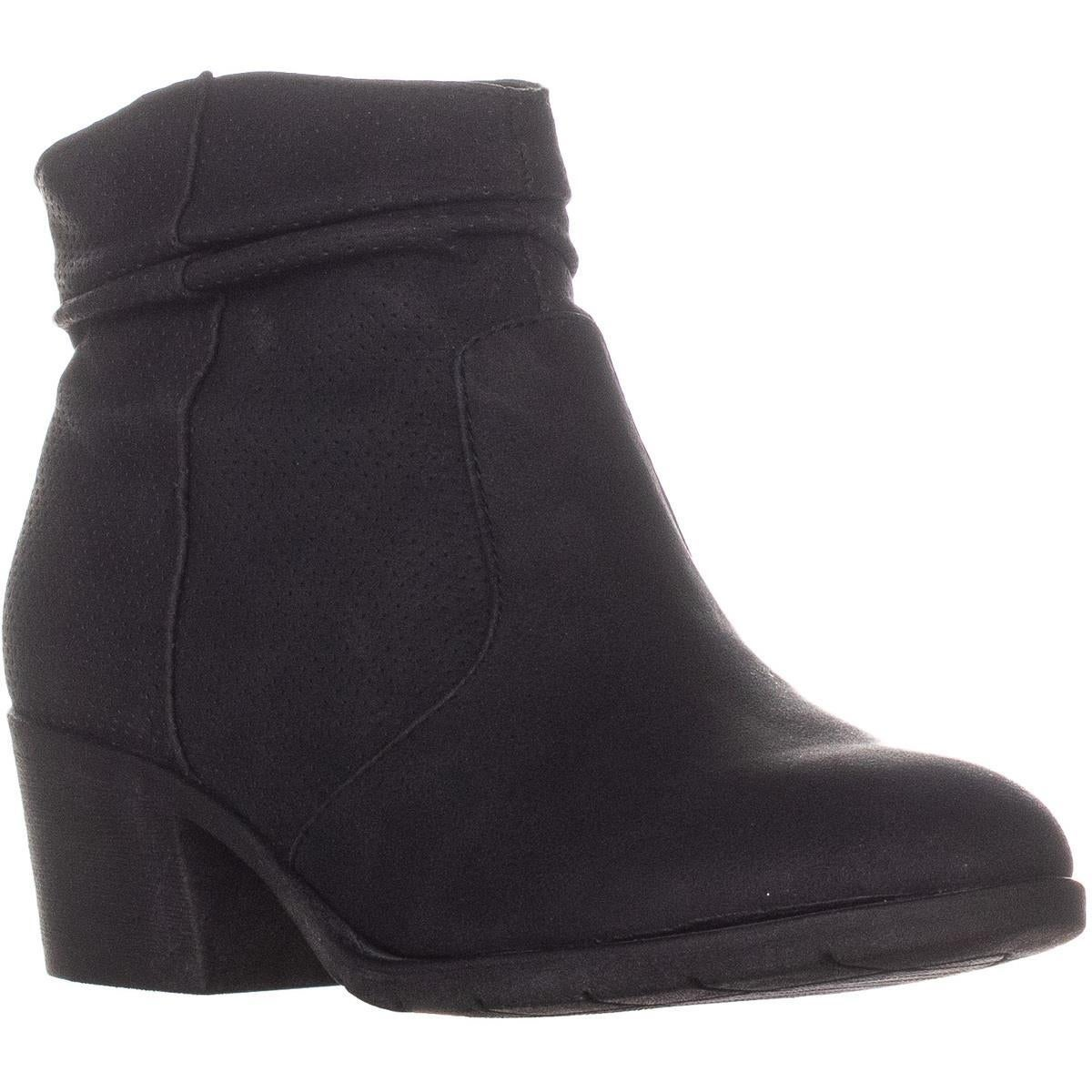 Shop White Mountain Uptown Block Heel Ankle Boots Black On Sale