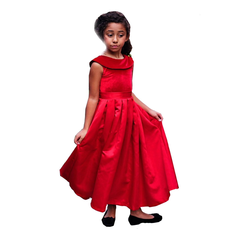 Shop Girls Red Satin Velvet Amelia Christmas Dress - Free Shipping ... bb8d2dc17