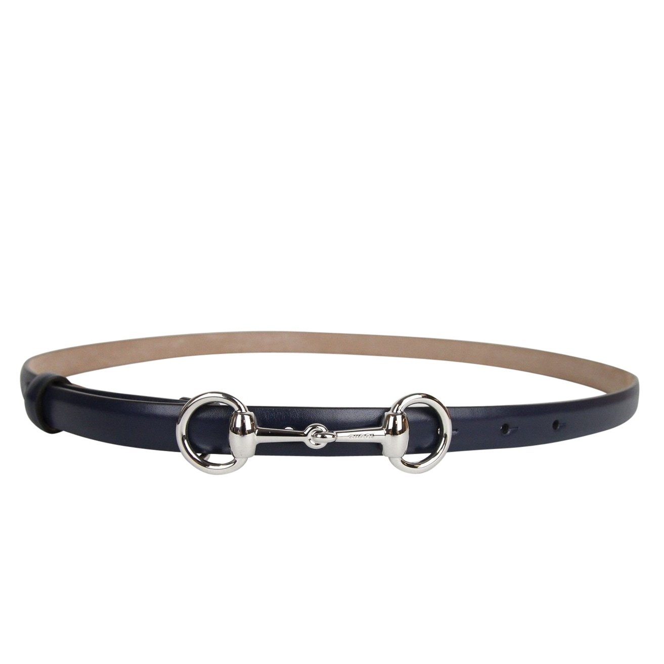 1594fcb6500 Shop Gucci Women s Horsebit Buckle Navy Leather Thin Skinny Belt 282349  4116 - 100   40 - Free Shipping Today - Overstock - 25628981