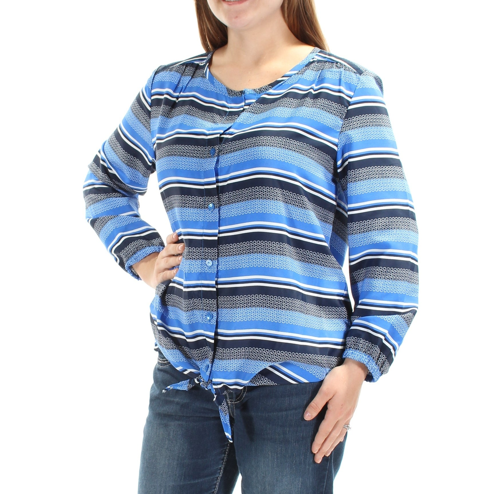 Shop TOMMY HILFIGER  70 Womens New 1114 Blue Striped Tie Long Sleeve Top M  B+B - Free Shipping On Orders Over  45 - Overstock - 21263932 9f050503e