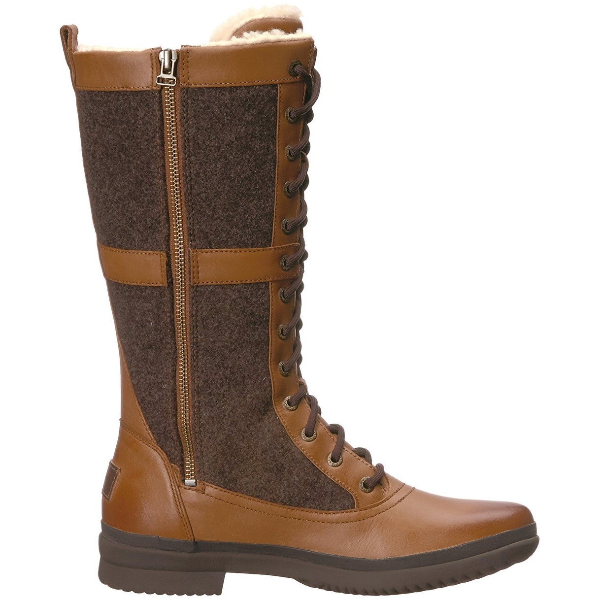 c101734470a Ugg Womens Elvia Leather Round Toe Mid-Calf Cold Weather Boots