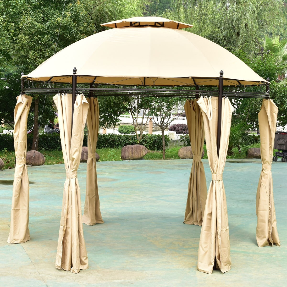 Shop Costway 10ft Round Outdoor Gazebo Canopy Shelter Awning Tent Patio  Garden   Free Shipping Today   Overstock.com   18299446