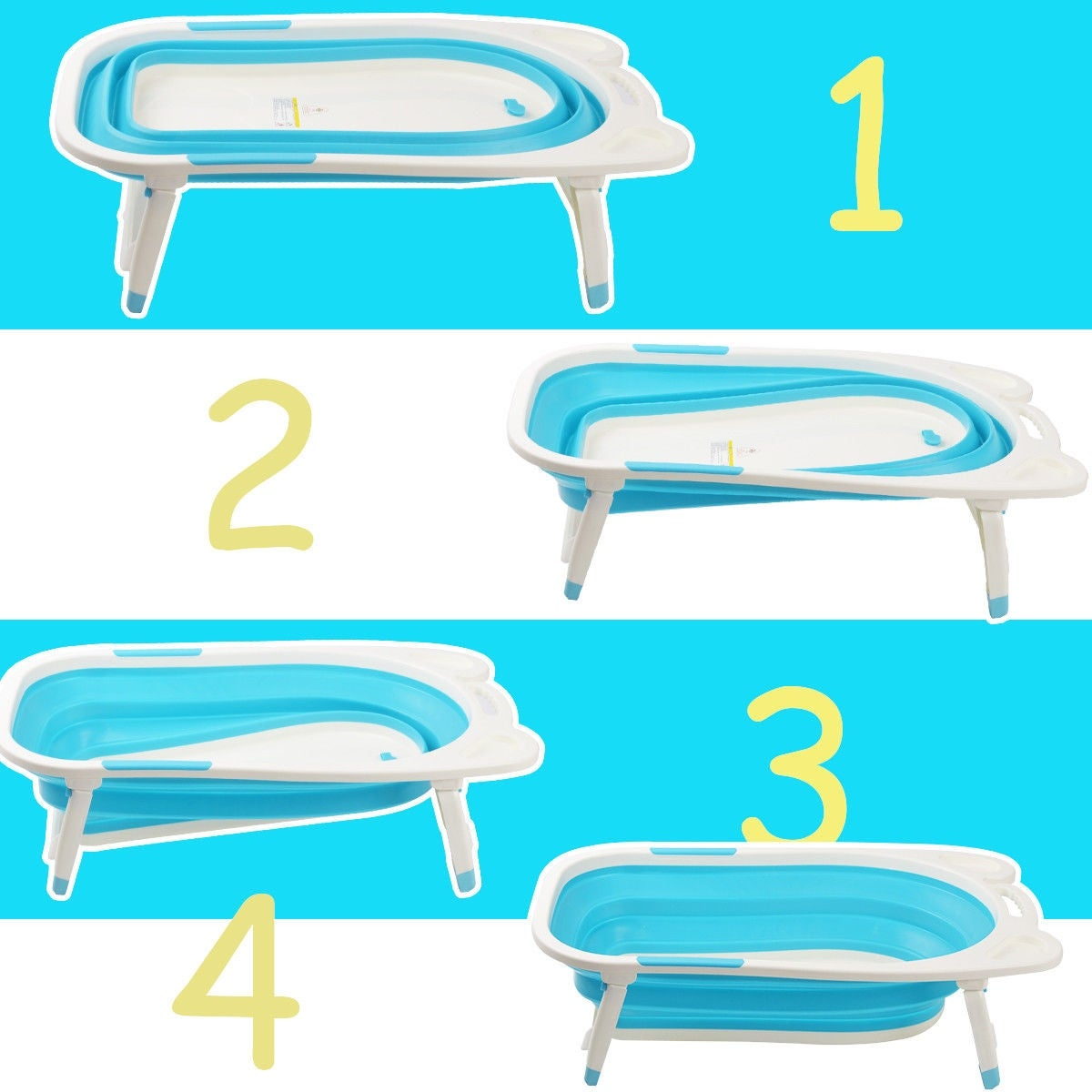 Gymax Blue Baby Folding Bathtub Infant Collapsible Portable Shower ...