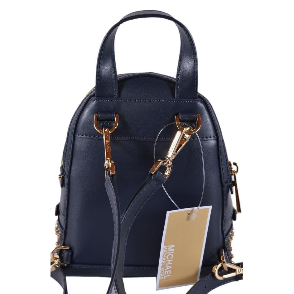 741e512fe76a Shop Michael Kors Dark Blue Leather Embellished RHEA MINI XS Backpack Bag -  6.25