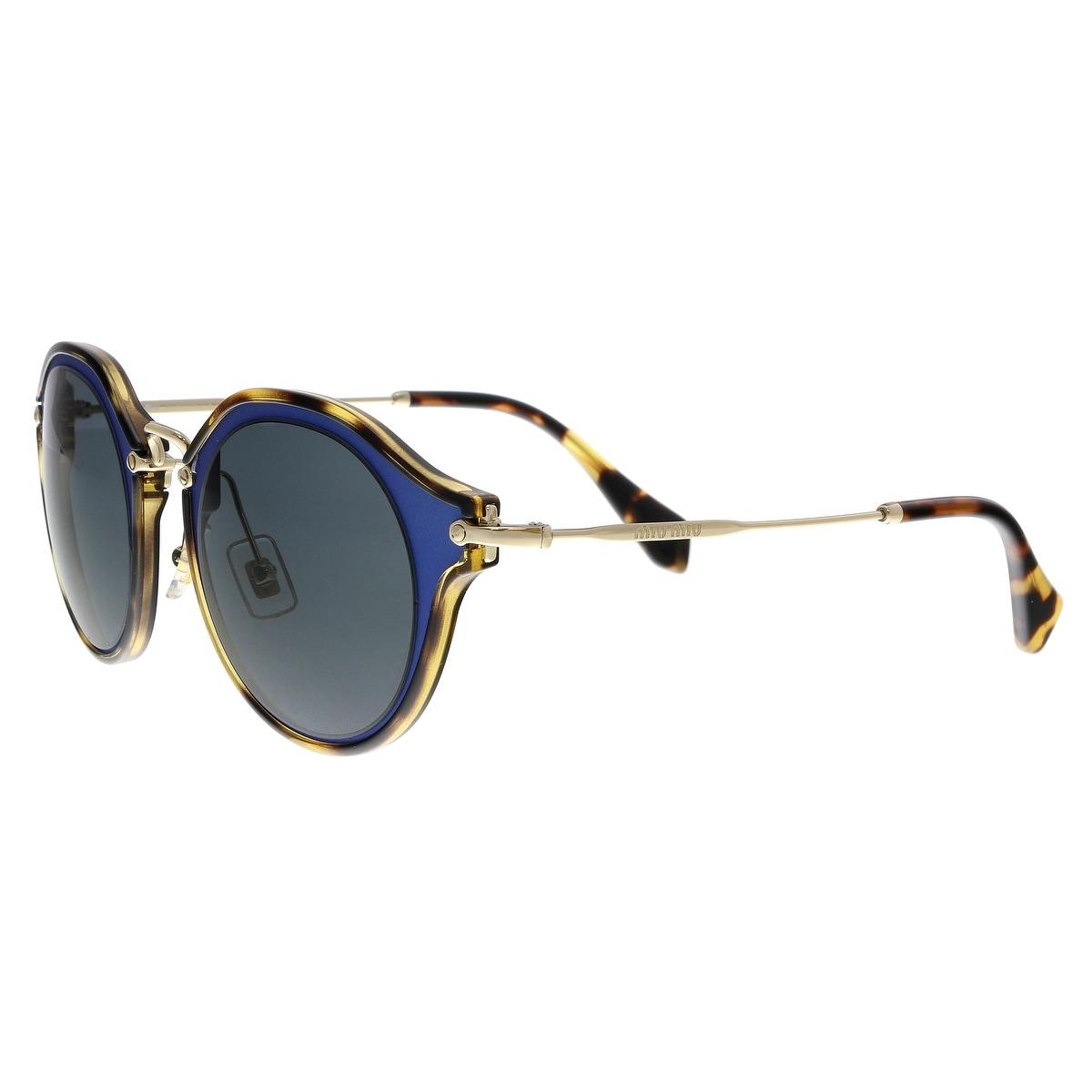 3024378f7a3a Shop MIU MIU MU51SS VA71A1 Matte Blue/Havana Round Sunglasses - No ...