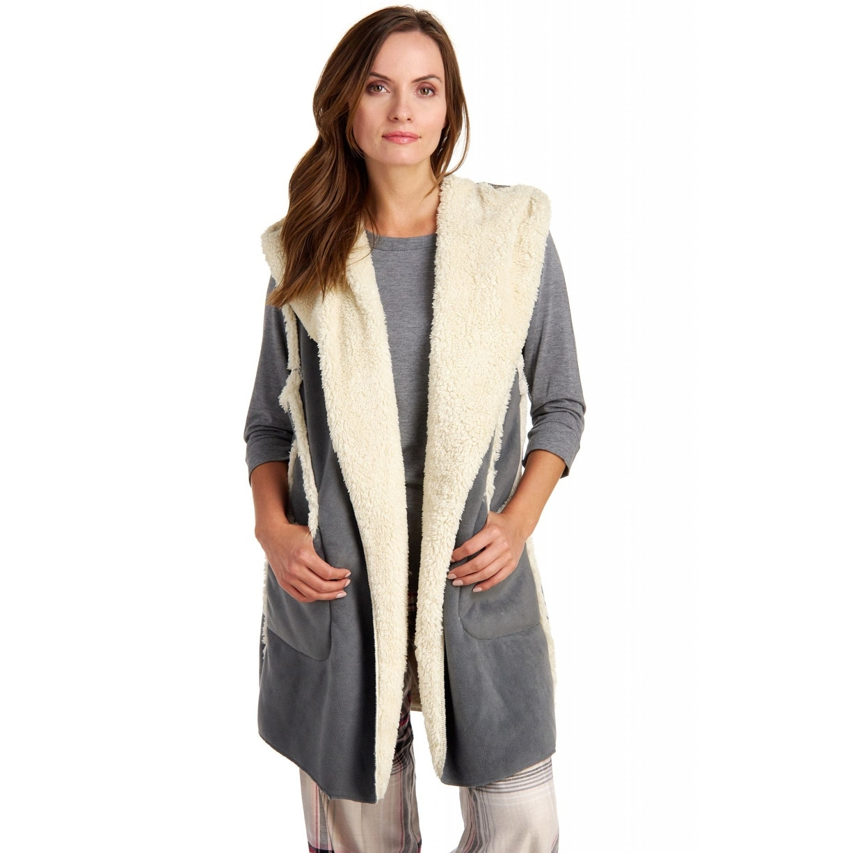 a6748b444c Shop Hue Sleepwear Women s Sleeveless Hooded Fleece Lined Robe - Castlerock  - Ships To Canada - Overstock - 18096143