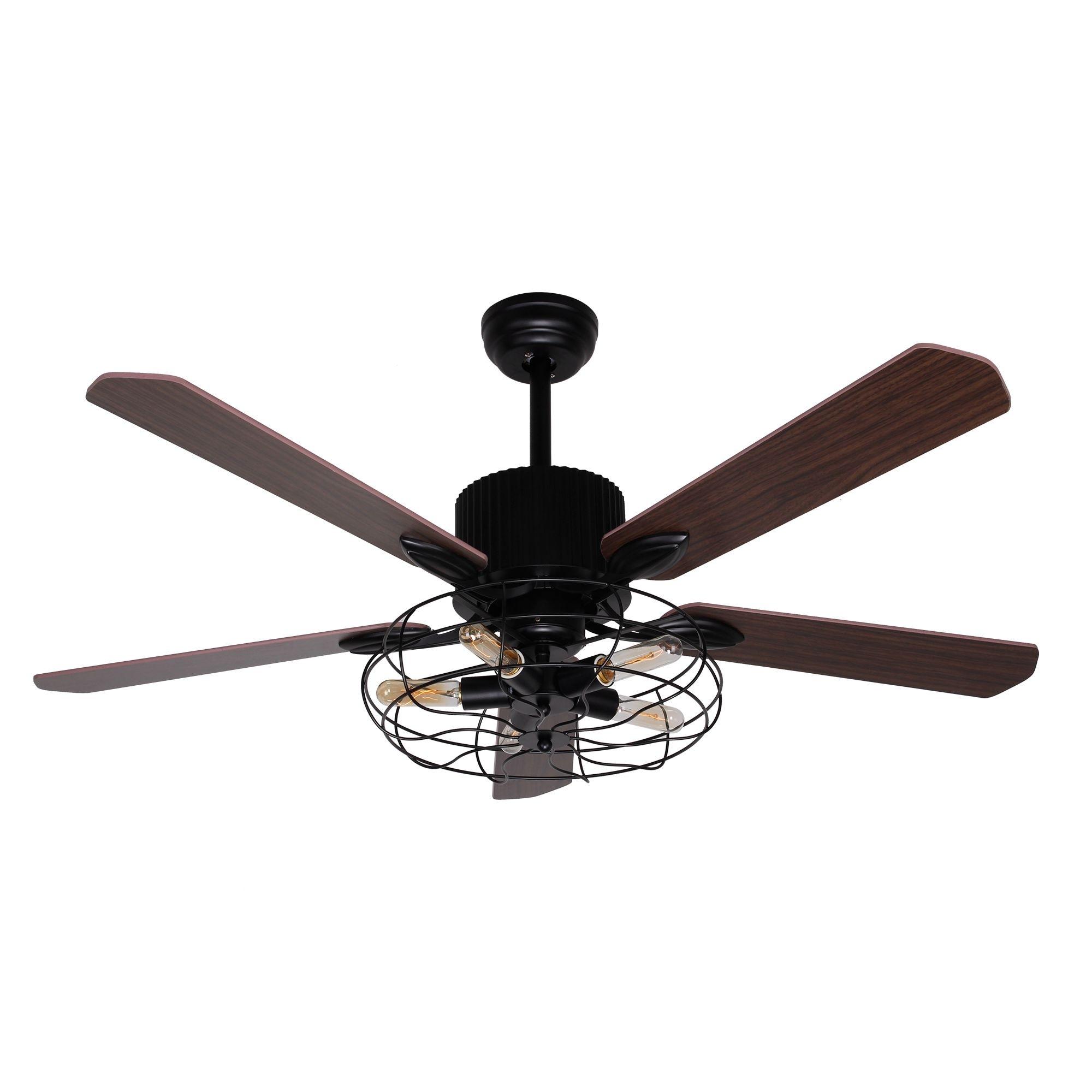 5 Light Black 52 Inch Brown Wood Ceiling Fan