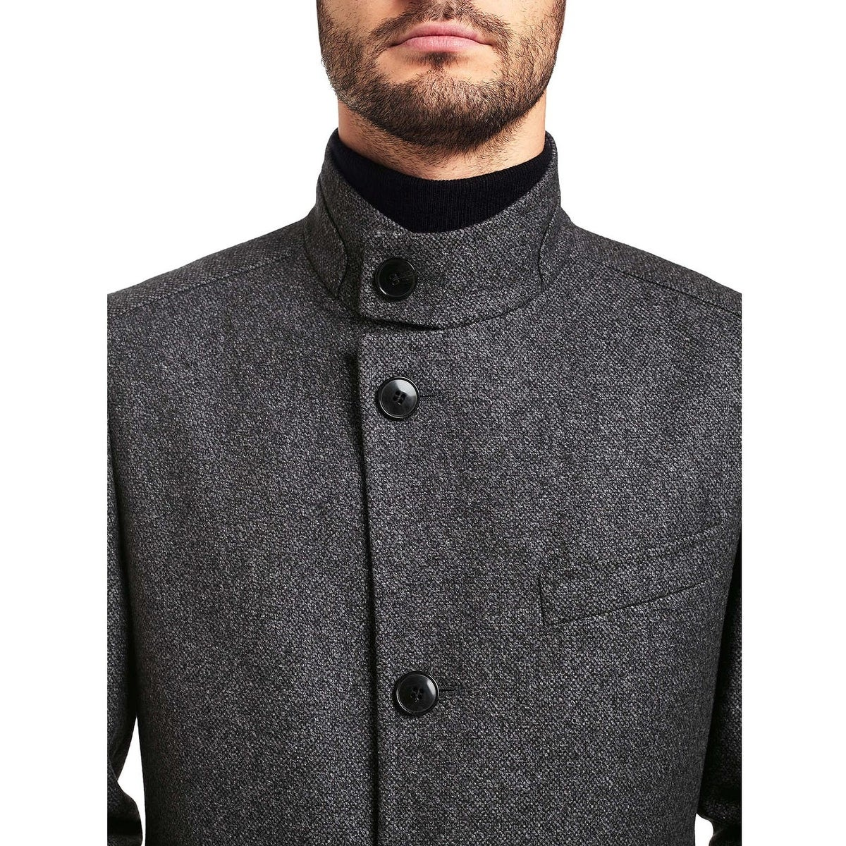 20399218223 Shop Hugo by Hugo Boss Mens C-Sintrax Band Collar Coat 46R Dark Grey  Overcoat - Free Shipping Today - Overstock - 23581995