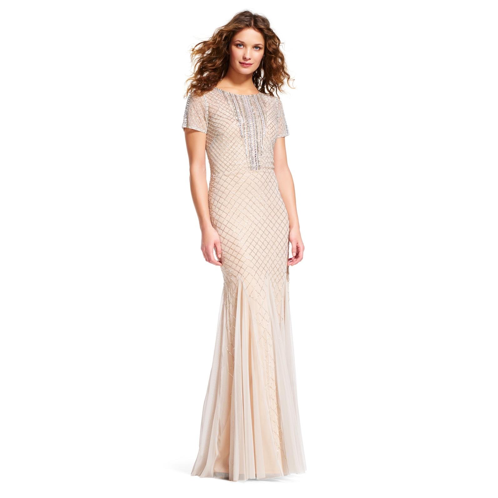 Shop Adrianna Papell Short Sleeve Mermaid Dress with Beaded Neckline ...
