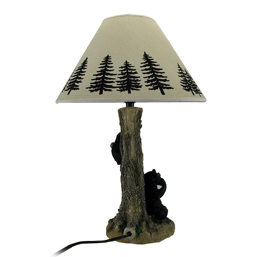 Rustic Black Bears in a Honey Tree Table Lamp Set of 2 - Multicolored